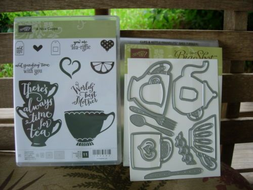 Stampin-Up-A-NICE-CUPPA-PHOTOPOLYMER-STAMP-SET-CUPS-KETTLE-FRAMELITS-RETIRED
