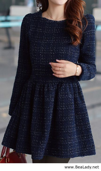 Sophisticated Round Collar Back Zipper Long Sleeves Tartan Ball Gown Dress For…: