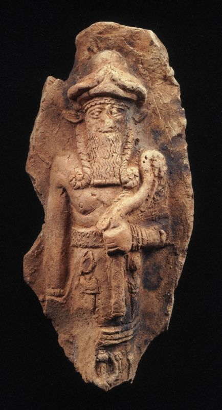 Relief plaque depicting Nergal, god of the netherworld. ca. 1800-1600 B.C. Old Babylonian Terracotta
