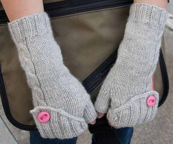 Folded back fingerless mittens (with a button top) - would love to see the original felted wool version of these