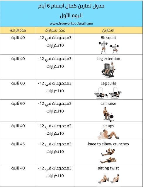 جدول تمارين كمال اجسام 6 ايام Workout Schedule Workout Bodybuilding