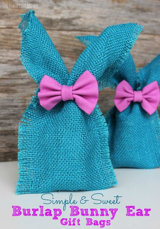 DIY Easter Ideas: No-Sew Burlap Bunny Ear Gift Bags: