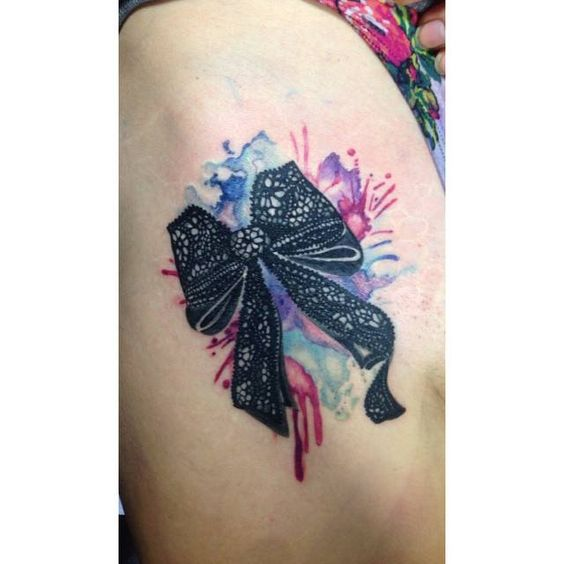 Chronic ink tattoo toronto tattoo watercolor lace bow for Lace bow tattoo