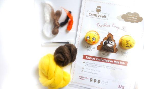 No sew High quality Merino wool Needle felt kit for 3 Troubled Emoji figures | Troubled Emoji, Flushed Face Emoji & Poop Emoji felties