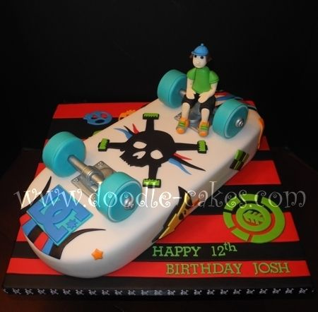 how to make a skateboard cake with fondant