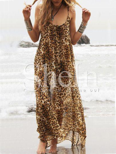 Leopard Spaghetti Strap Backless Beachwear Maxi Dress -SheIn(Sheinside) Mobile Site