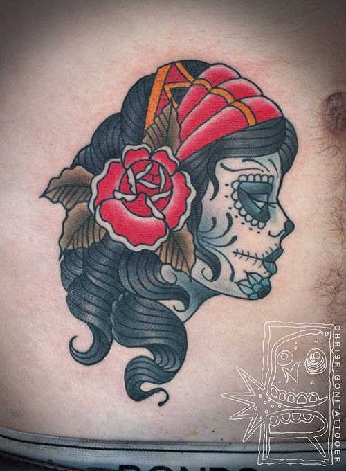 tattoo old school / traditional nautic ink , doll face / catrina pinup