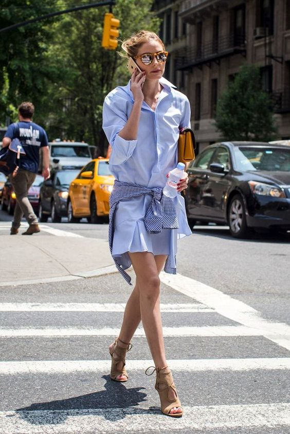 Olivia Palermo // mirrored sunglasses, light blue shirtdress & suede tan lace up sandals #style #fashion #streetstyle: