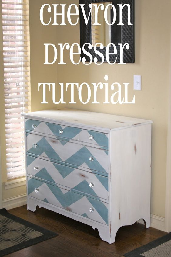 I really should be sleeping....: Painted Chevron Dresser {Tutorial}