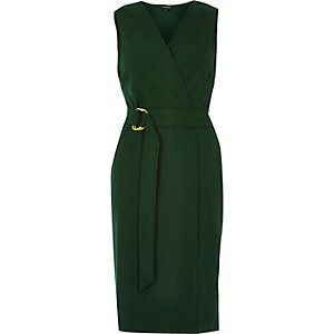 Dark green D-ring belted wrap dress