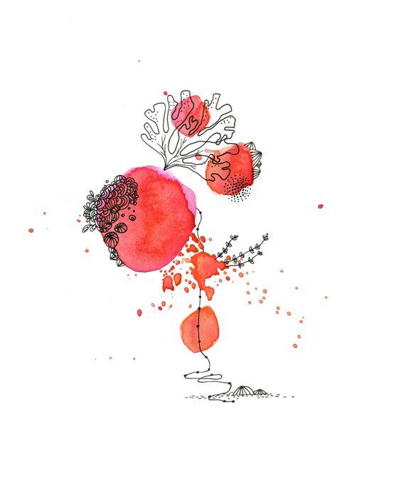 rouge corail, encre, Cécile Hudrisier