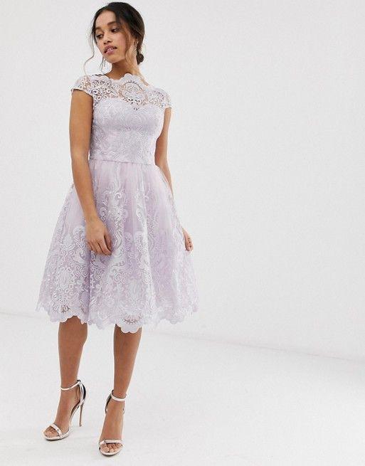 Chi Chi London Petite Premium Lace Midi Skater Dress In Pink Asos Alternative Dress Midi Skater Dress Dresses