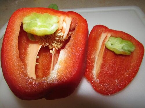 So I'm getting ready to chop up a few vegetables to cook in my dinner tonight. I slice a side of a Red Bell Pepper and look what's on the inside. A Green Bell Pepper growing inside of it. What are the odds of that? Is this safe to eat?   #weirdbutinteresting #food #cooking #vegetables
