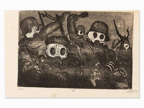 Otto Dix, Sturmtruppe geht unter Gas vor, Etching, 1924