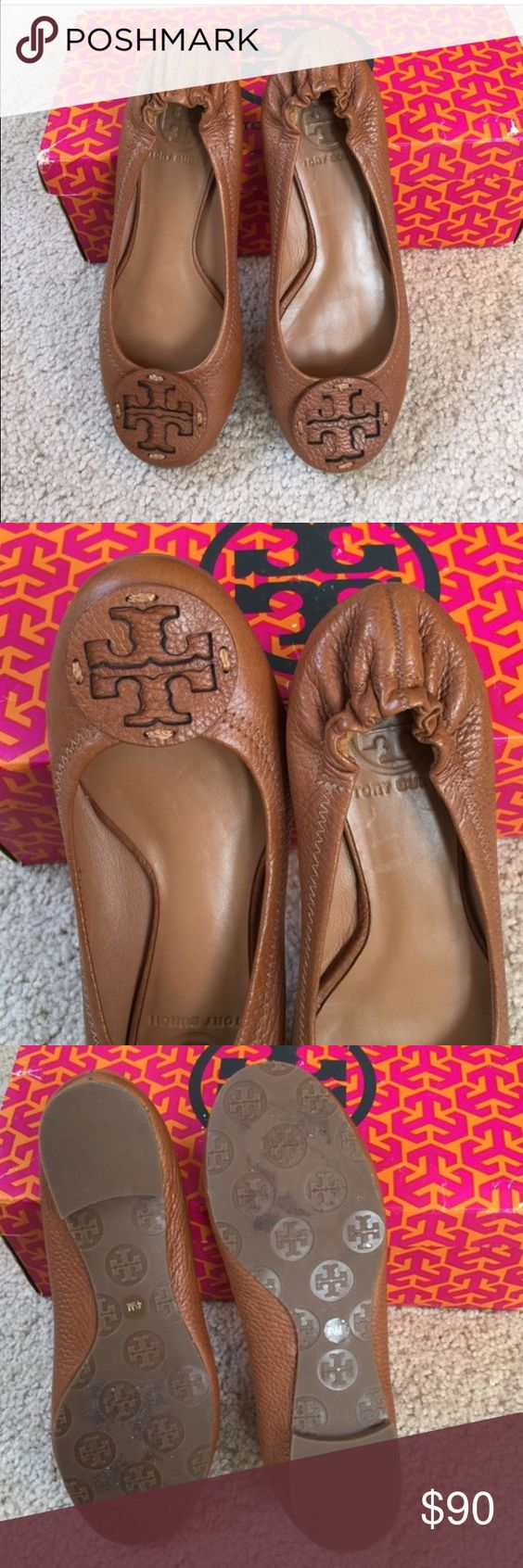 SOLD**Tory Burch Royal Tan Reva flats** SOLD ON M Beautiful Tory Burch Reva flats! These are in perfect condition! I absolute love these shoes but they are size 4.5 and I actually need a 5! Run very true to size! No flaws! Comes with original box without dust bag. Tory Burch Shoes Flats & Loafers