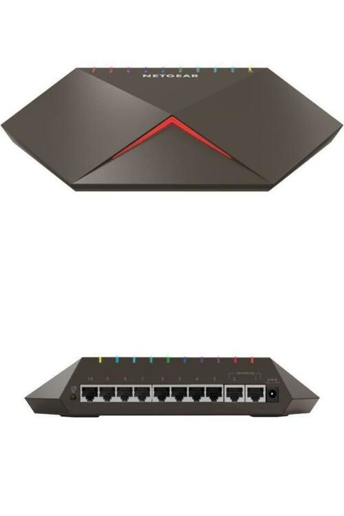 Netgear Nighthawk Pro Gaming Sx10 Gigabit Ethernet 8 Port Switch With 2x 10g Netgear Gigabit Switch Port