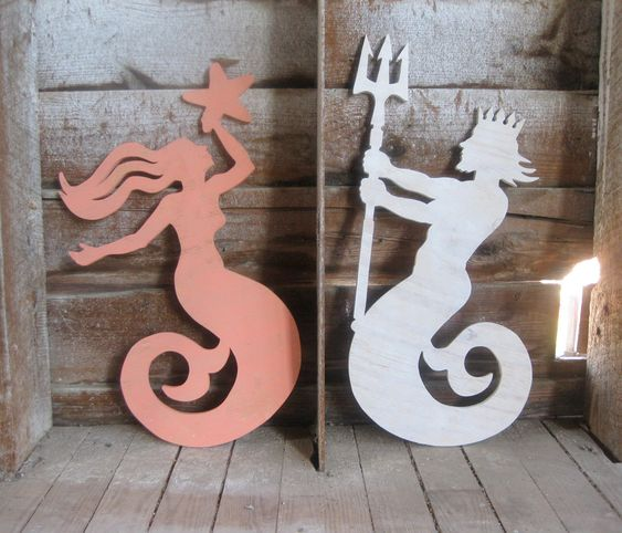 Mermaid and Neptune beach decor wood signs cottage coastal rustic distressed shabby chic. $155.00, via Etsy.