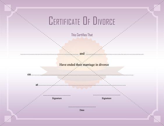 Divorce Decree Certificate Template Printable - fake divorce papers free
