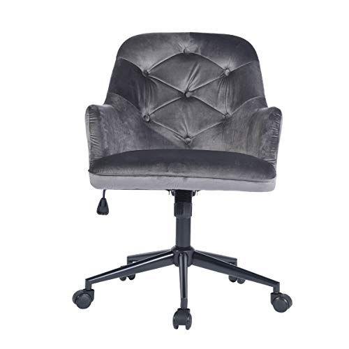 Homy Casa Modern Swivel Desk Chair With Wheels Mid Back Support Serta Accent Armrest Velvet Fabric Seat With Butter Fabric Seat Modern Swivel Swivel Chair Desk
