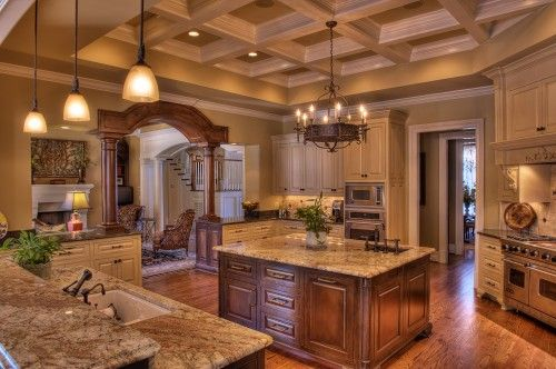 I love everything about this kitchen. Lighting, cabinets, counter tops, ceiling and the color. wow, just wow