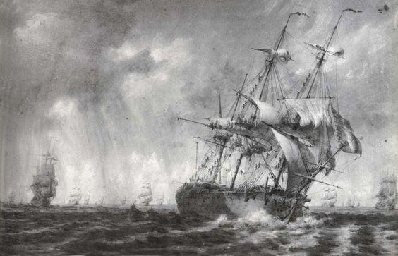 """""""Vaisseaux recevant un grain violent; les gabiers grimpent dans la mâture pour serrer la toile"""", par Pierre Ozanne; fin du XVIIIè siècle."""