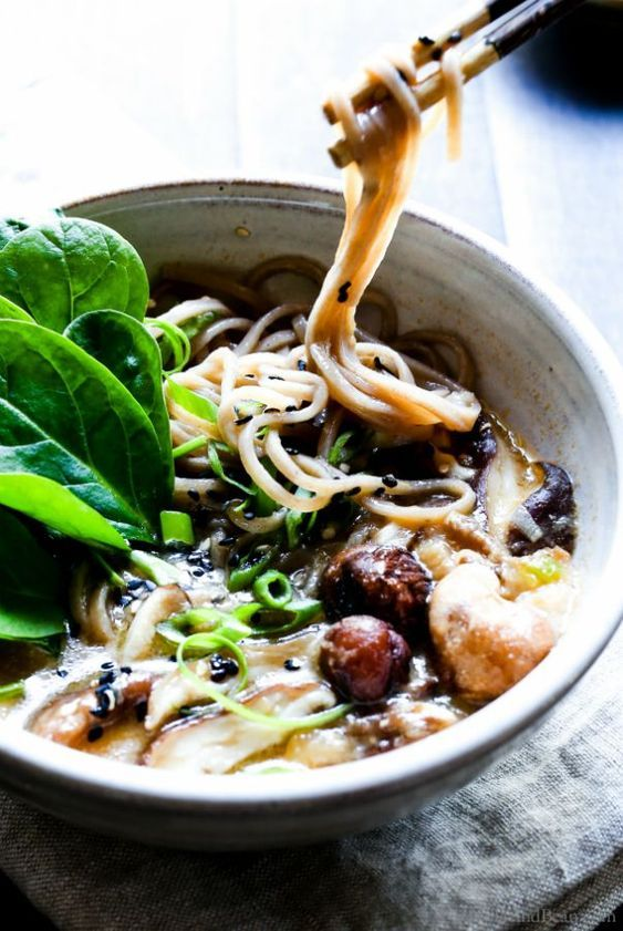 Speedy Miso Spinach Mushroom Ramen Is Packed With Ginger Garlic Shiitake Mushrooms And Oodles Of S Spinach Stuffed Mushrooms Mushroom Ramen Best Ramen Recipe