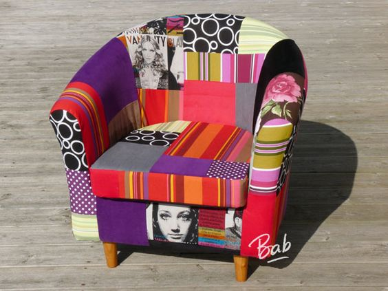 Patchwork on pinterest for Housse pour fauteuil club