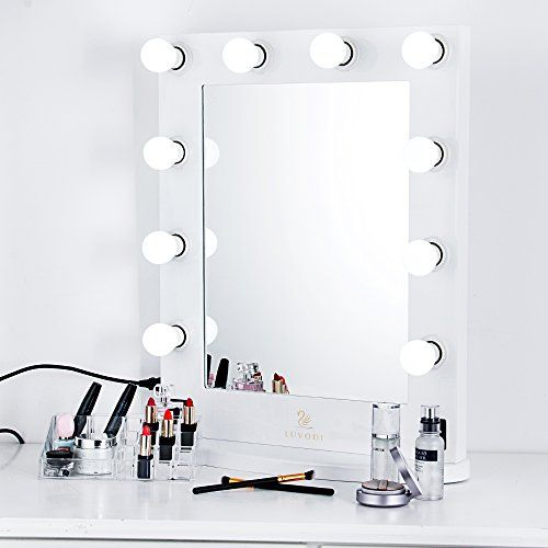 Luvodi Hollywood Vanity Mirror Lighted Makeup Mirror With 10 Dimmable Led Bulbs Lights Wood F Hollywood Makeup Mirror Makeup Mirror With Lights Cosmetic Mirror