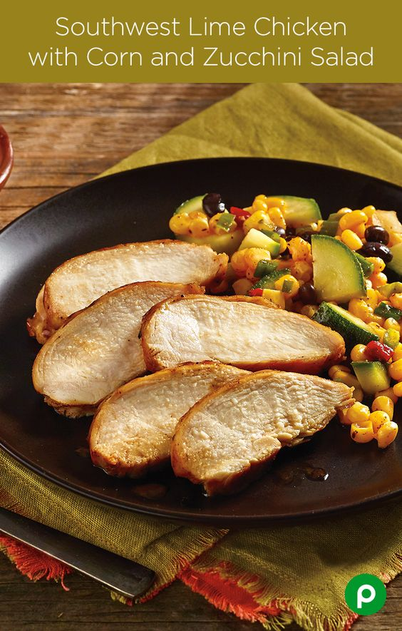 With boneless, skinless chicken breasts, Southwest-style vegetables, and great taste, the Southwest Lime Chicken with Corn and Zucchini Salad from Publix Aprons offers a restaurant-style meal without the 20-minute wait.