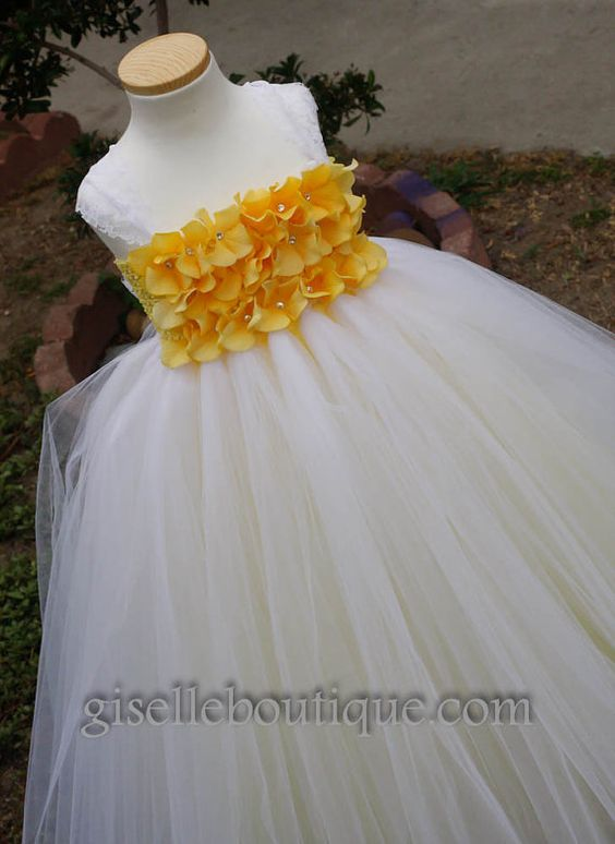 Flower girl dress .White Tutu Dress with Yellow by giselleboutique