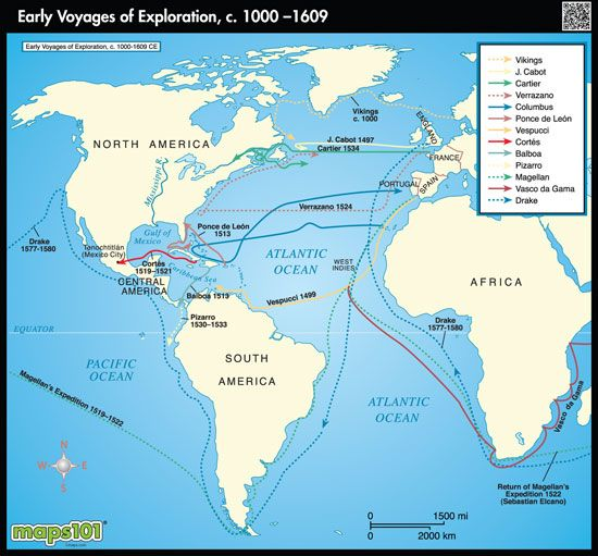 World Exploration Map Early Voyages by Maps from Maps – To and from Maps