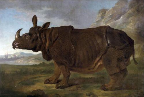 Clara the Rhinoceros - Jean-Baptiste Oudry, 1749 (Staatliches Museum, Schwerin, Mecklenburg, Germany), Wikipaintings