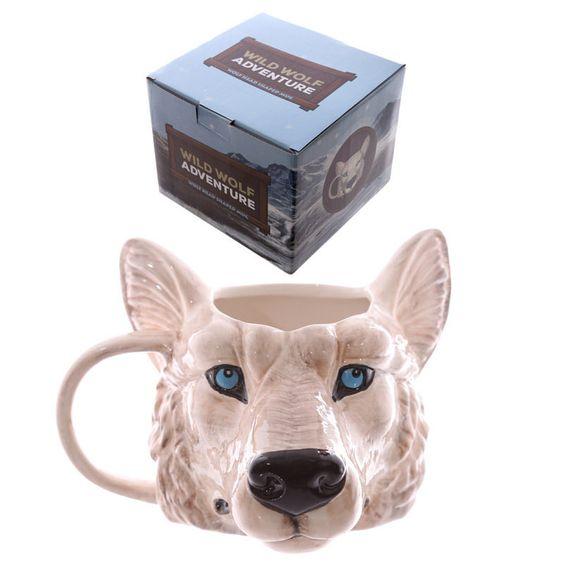 Wolfs-Kopf-förmige Keramik Tasse