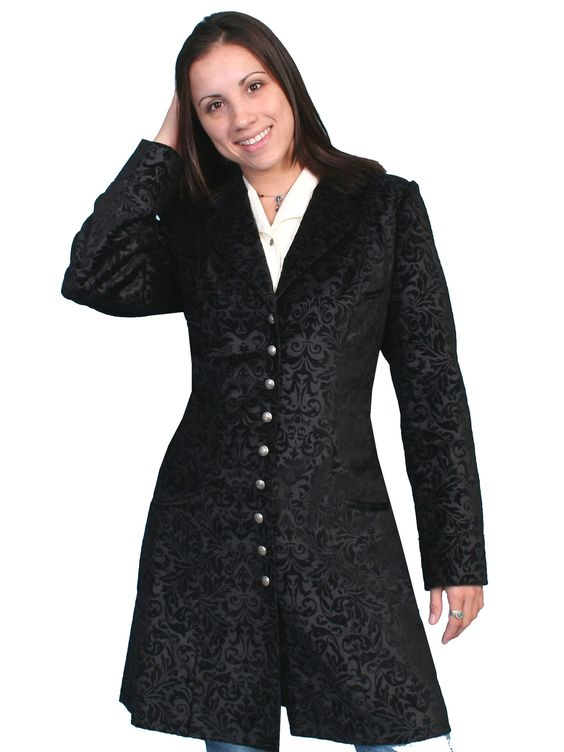 Scully Womens Wahmaker Floral Print Coat Black 100% Cotton Flocked