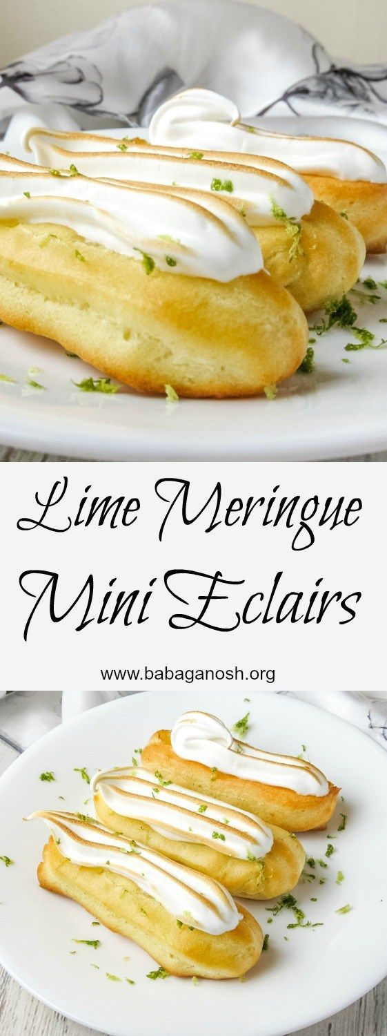These Lime Meringue Mini Eclairs are half the size but ALL the flavor! The zesty lime custard filling is perfectly balanced by the sweet, light meringue. From http://www.babaganosh.org
