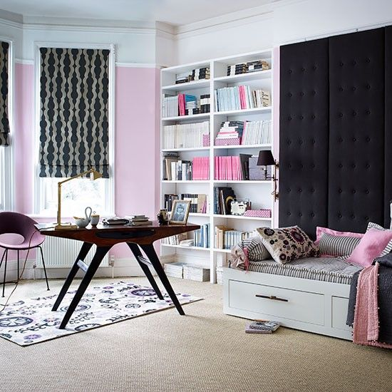Pink and charcoal home office and guest room| Home office decorating ideas | Homes & Gardens | Housetohome.co.uk