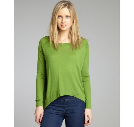 Autumn Cashmere apple cashmere knit hanky high-low hem sweater