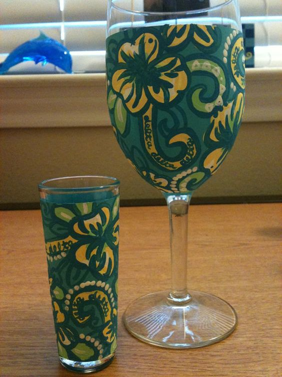 Handpainted Lilly Pulitzer Wine Glasses by Silly4Lilly on Etsy, $15.00