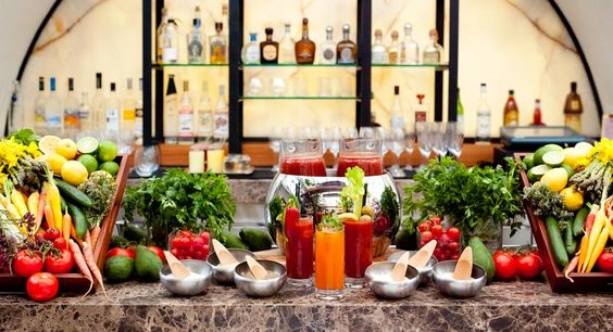 How does this look for #brunch? The Bloody Mary bar at @Hotel Bel-Air.
