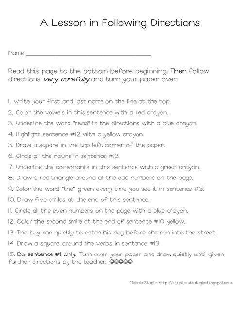 Printables Following Directions Worksheet Middle School following directions had a teacher give this test in high school there were many