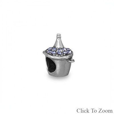 Purple CZ Ice Bucket Bead with Champagne Bottle