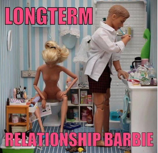 Longterm Relationship Barbie. Awesome...but Ken should be pantsless with a beer belly and Barbie should have a little c-section flab to go with....LOL!