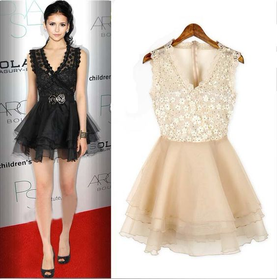 Fashion V Neck Tank Sleeveless Back Transparent Apricot Lace Ball Gown Mini Dress