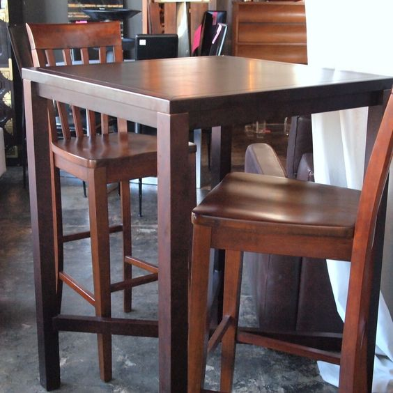 Bar Style Kitchen Table And Chairs: 10759 High Top Bar Style Wood Table With 2 Chairs