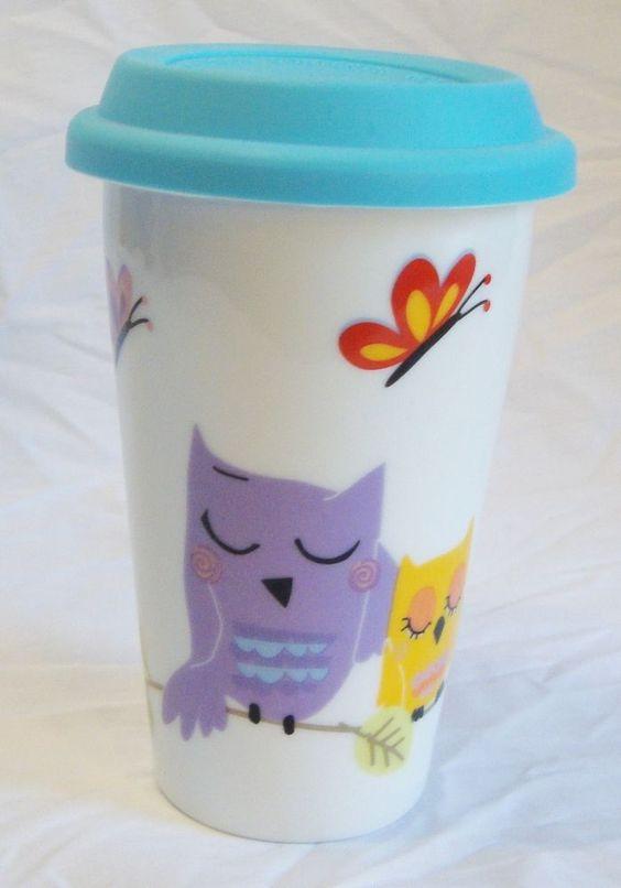 Ciroa Owls Double Walled Ceramic Porcelain Travel Mug