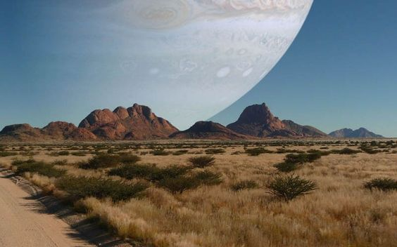 IF JUPITER WAS THE SAME DISTANCE AS THE MOON   Artwork by jb2386 on Reddit   What if Jupiter were the same distance from the Earth as the Moon?