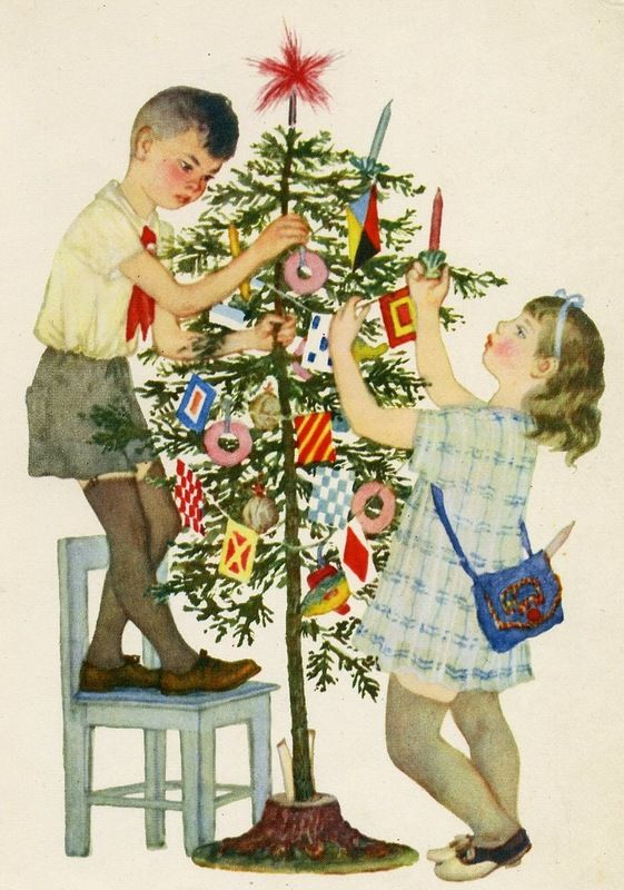 """Vintage Soviet CHRISTMAS postcard ... c 1966. Children decorating a Christmas tree, their """"New Year """"tree. Love the tree decorations.:"""