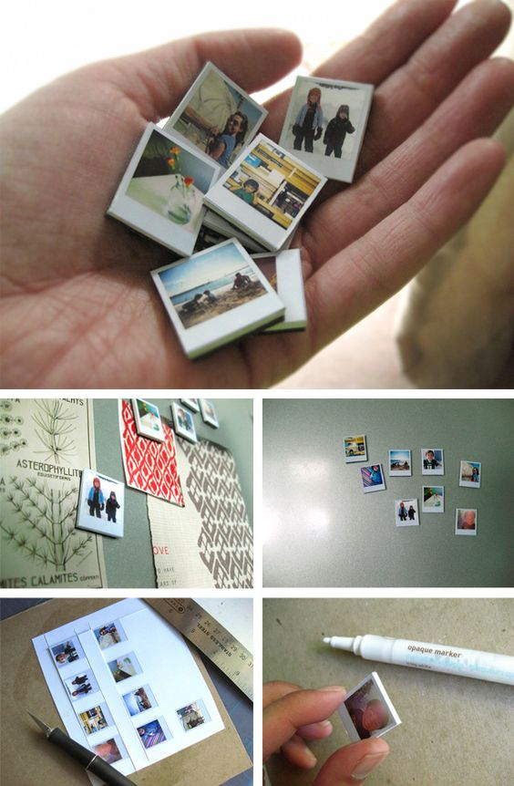 Look at this clever project of Ambrosia Girl, she decided to create tiny Polaroid magnets. On her website she offers a Polaroid template she used for the project, printing and adapting the selected photos in this format. Then she has cutted and pasted them on chipboard, painted the edges with a white opaque pen and finally attached a magnet on the back. Ingenious!