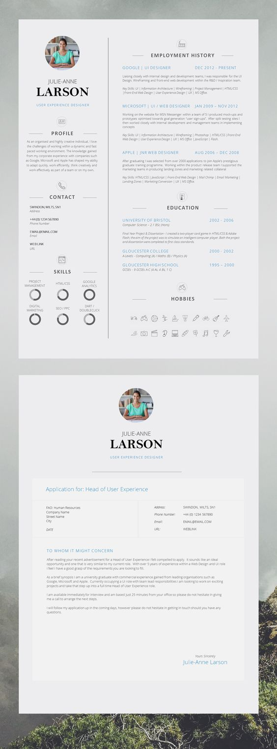 """Super Slick Single Page CV Template with Photo and Cover Letter 