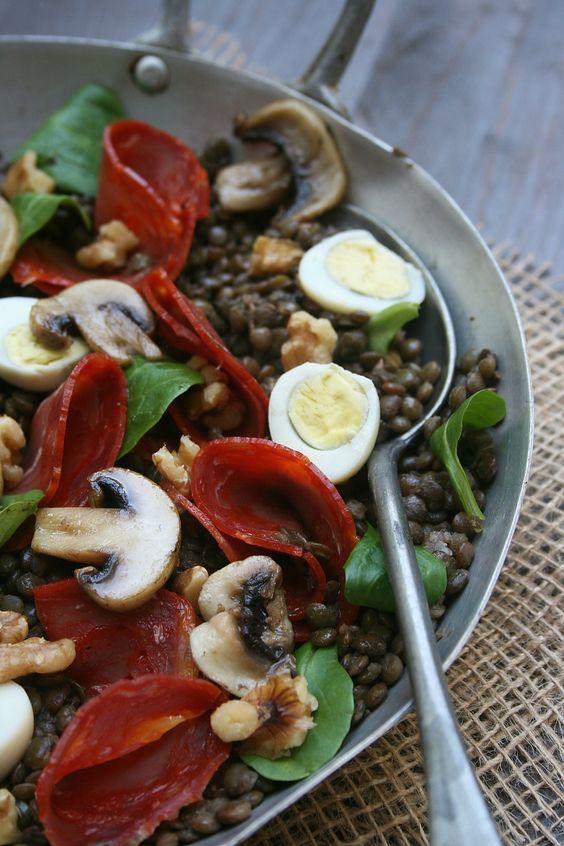salade d'automne de lentilles vertes 2...Pour moi , Andrée , sans peperoni......